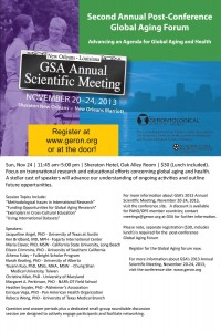Global Aging Forum 2013 GSA-flyer