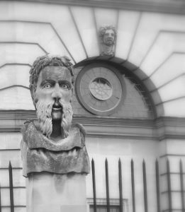 Sculpture outside the Sheldonian Theater, Oxford. Not to be mistaken for founding member Jay Sokolovsky.
