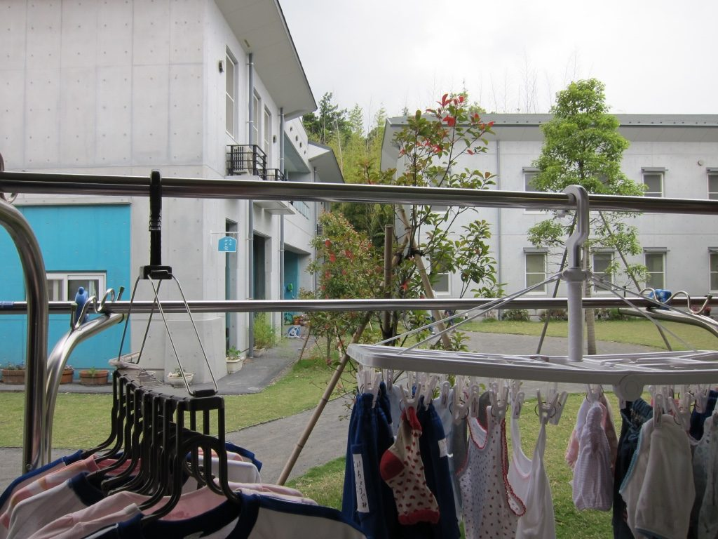 Laundry hanging up to dry at a child welfare institution in the Tokyo metropolitan area. Photograph by Kathryn Goldfarb. Please do not reproduce without permission